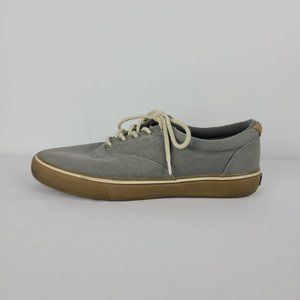 Sperry Mens Grey Lace Up Canvas Runners Size 10